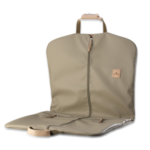 Quality made in America durable coated canvas hanging and folding garment bag with leather patch to personalize with initials or monogram