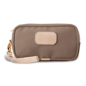 Wristlet - Saddle Coated Canvas Front Angle in Color 'Saddle Coated Canvas'