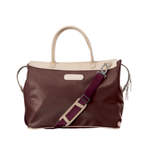Load image into Gallery viewer, Burleson Bag - Burgundy Coated Canvas Front Angle in Color 'Burgundy Coated Canvas'