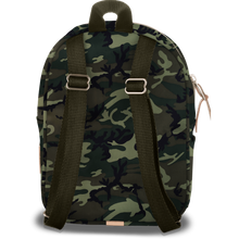 Load image into Gallery viewer, Mini Backpack - Classic Camo Coated Canvas Front Angle in Color 'Classic Camo Coated Canvas'