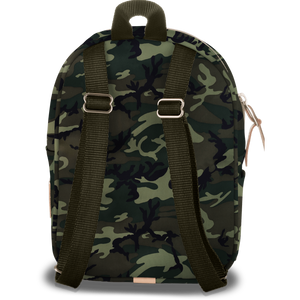 Mini Backpack - Classic Camo Coated Canvas Front Angle in Color 'Classic Camo Coated Canvas'