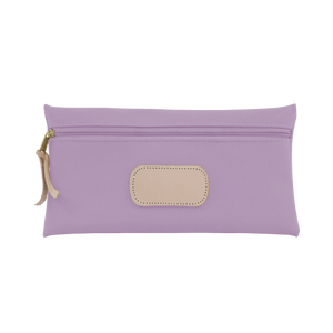 Large Pouch - Lilac Coated Canvas Front Angle in Color 'Lilac Coated Canvas'