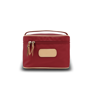 Makeup Case - Red Coated Canvas Front Angle in Color 'Red Coated Canvas'