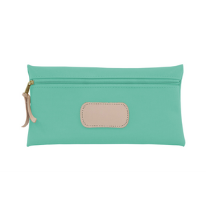 Large Pouch - Mint Coated Canvas Front Angle in Color 'Mint Coated Canvas'
