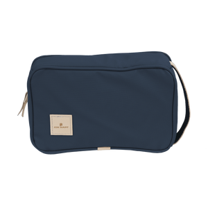 Small Travel Kit - Navy Coated Canvas Front Angle in Color 'Navy Coated Canvas'