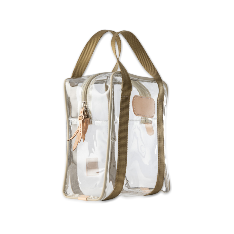 Quality made in America clear toiletry, hunting or golf ball bag with leather patch to personalize with initials or monogram