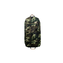 "Load image into Gallery viewer, 50"" Garment Bag - Classic Camo Coated Canvas Front Angle in Color 'Classic Camo Coated Canvas'"