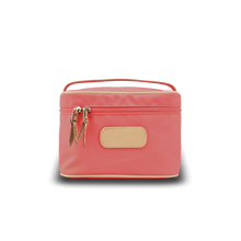 Load image into Gallery viewer, Makeup Case - Coral Coated Canvas Front Angle in Color 'Coral Coated Canvas'