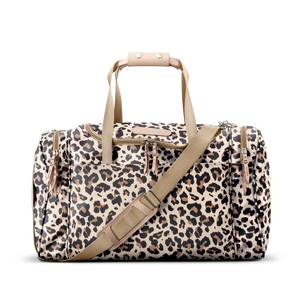 Medium Square Duffel - Leopard Coated Canvas Front Angle in Color 'Leopard Coated Canvas'