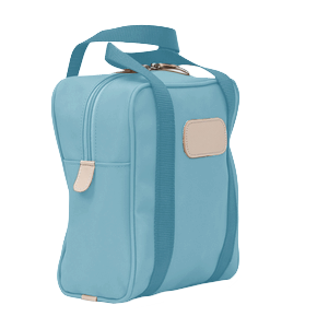 Shag Bag - Ocean Blue Coated Canvas Front Angle in Color 'Ocean Blue Coated Canvas'