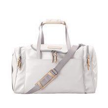 Load image into Gallery viewer, Medium Square Duffel - White Coated Canvas Front Angle in Color 'White Coated Canvas'