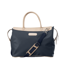 Load image into Gallery viewer, Burleson Bag - Navy Coated Canvas Front Angle in Color 'Navy Coated Canvas'