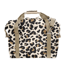Load image into Gallery viewer, Large Cooler - Leopard Coated Canvas Front Angle in Color 'Leopard Coated Canvas'