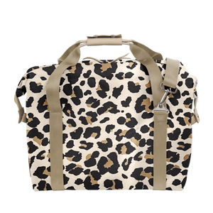 Large Cooler - Leopard Coated Canvas Front Angle in Color 'Leopard Coated Canvas'