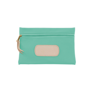 Pouch - Mint Coated Canvas Front Angle in Color 'Mint Coated Canvas'