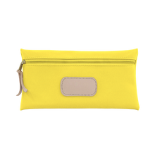 Load image into Gallery viewer, Large Pouch - Lemon Coated Canvas Front Angle in Color 'Lemon Coated Canvas'