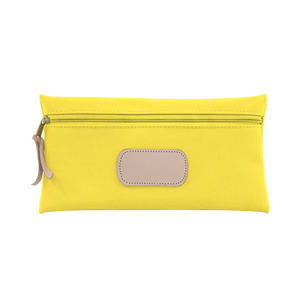 Large Pouch - Lemon Coated Canvas Front Angle in Color 'Lemon Coated Canvas'