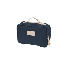 Load image into Gallery viewer, Large Travel Kit - Navy Coated Canvas Front Angle in Color 'Navy Coated Canvas'