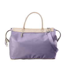 Load image into Gallery viewer, Burleson Bag - Lilac Coated Canvas Front Angle in Color 'Lilac Coated Canvas'