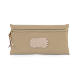 Large Pouch - Tan Coated Canvas Front Angle in Color 'Tan Coated Canvas'