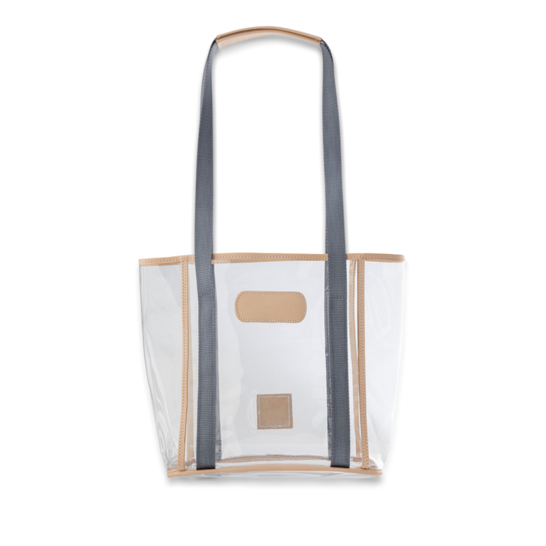 Quality made in America clear stadium compliant tote bag with leather patch to personalize with initials or monogram