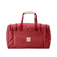 Load image into Gallery viewer, Medium Square Duffel - Red Coated Canvas Front Angle in Color 'Red Coated Canvas'
