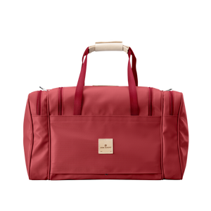 Medium Square Duffel - Red Coated Canvas Front Angle in Color 'Red Coated Canvas'