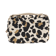 Load image into Gallery viewer, Large Travel Kit - Leopard Coated Canvas Front Angle in Color 'Leopard Coated Canvas'