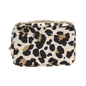 Large Travel Kit - Leopard Coated Canvas Front Angle in Color 'Leopard Coated Canvas'