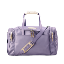 Load image into Gallery viewer, Medium Square Duffel - Lilac Coated Canvas Front Angle in Color 'Lilac Coated Canvas'