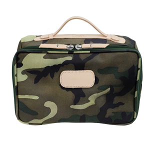 Large Travel Kit - Classic Camo Coated Canvas Front Angle in Color 'Classic Camo Coated Canvas'