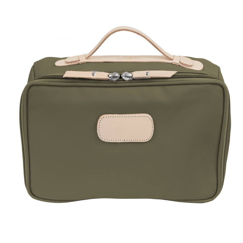 Large Travel Kit - Moss Coated Canvas Front Angle in Color 'Moss Coated Canvas'