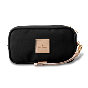 Wristlet - Black Coated Canvas Front Angle in Color 'Black Coated Canvas'