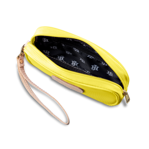 Wristlet - Lemon Coated Canvas Front Angle in Color 'Lemon Coated Canvas'