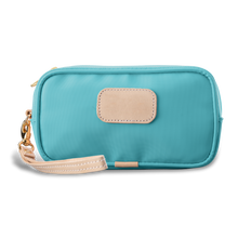 Load image into Gallery viewer, Wristlet - Ocean Blue Coated Canvas Front Angle in Color 'Ocean Blue Coated Canvas'