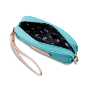 Wristlet - Ocean Blue Coated Canvas Front Angle in Color 'Ocean Blue Coated Canvas'