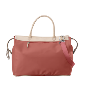 Burleson Bag - Coral Coated Canvas Front Angle in Color 'Coral Coated Canvas'