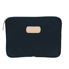 "Load image into Gallery viewer, 13"" Computer Case - Navy Coated Canvas Front Angle in Color 'Navy Coated Canvas'"