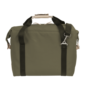 Large Cooler - Moss Coated Canvas Front Angle in Color 'Moss Coated Canvas'