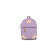 Load image into Gallery viewer, Mini Backpack - Lilac Coated Canvas Front Angle in Color 'Lilac Coated Canvas'