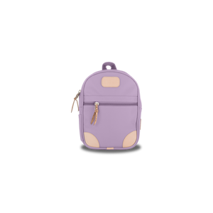 Mini Backpack - Lilac Coated Canvas Front Angle in Color 'Lilac Coated Canvas'