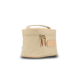 Makeup Case - Tan Coated Canvas Front Angle in Color 'Tan Coated Canvas'
