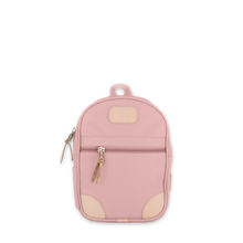 Load image into Gallery viewer, Quality made in America durable coated canvas small backpack for children and toddlers with leather patch to personalize with initials or monogram