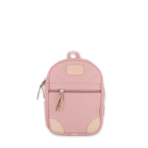 Quality made in America durable coated canvas small backpack for children and toddlers with leather patch to personalize with initials or monogram
