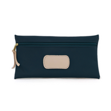 Load image into Gallery viewer, Large Pouch - Navy Coated Canvas Front Angle in Color 'Navy Coated Canvas'