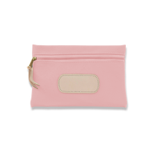 Load image into Gallery viewer, Quality made in America rectangle pouch with leather patch to personalize with initials or monogram