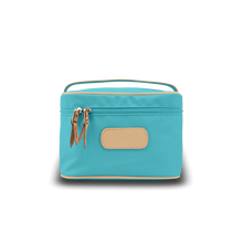 Load image into Gallery viewer, Makeup Case - Ocean Blue Coated Canvas Front Angle in Color 'Ocean Blue Coated Canvas'