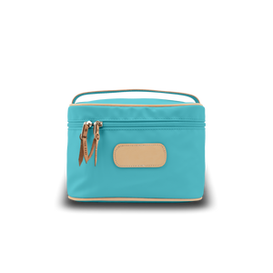 Makeup Case - Ocean Blue Coated Canvas Front Angle in Color 'Ocean Blue Coated Canvas'