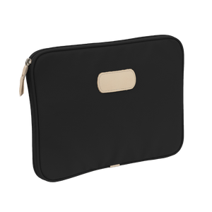 "13"" Computer Case - Black Coated Canvas Front Angle in Color 'Black Coated Canvas'"
