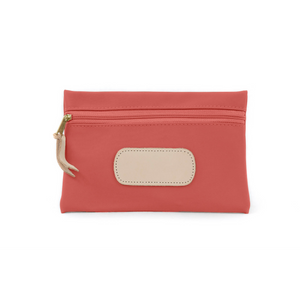 Pouch - Coral Coated Canvas Front Angle in Color 'Coral Coated Canvas'